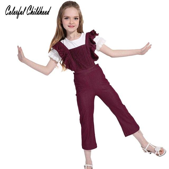eddd7f37a1 Girls denim Jumpsuits kids jeans overalls Childrens  stripe Rompers fashion  girls Autumn Spring Pants