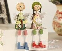 Fabbrica diretta creativo artigianato ornamenti bambola di legno dipinte coppia prezzo unico LL-1388F F