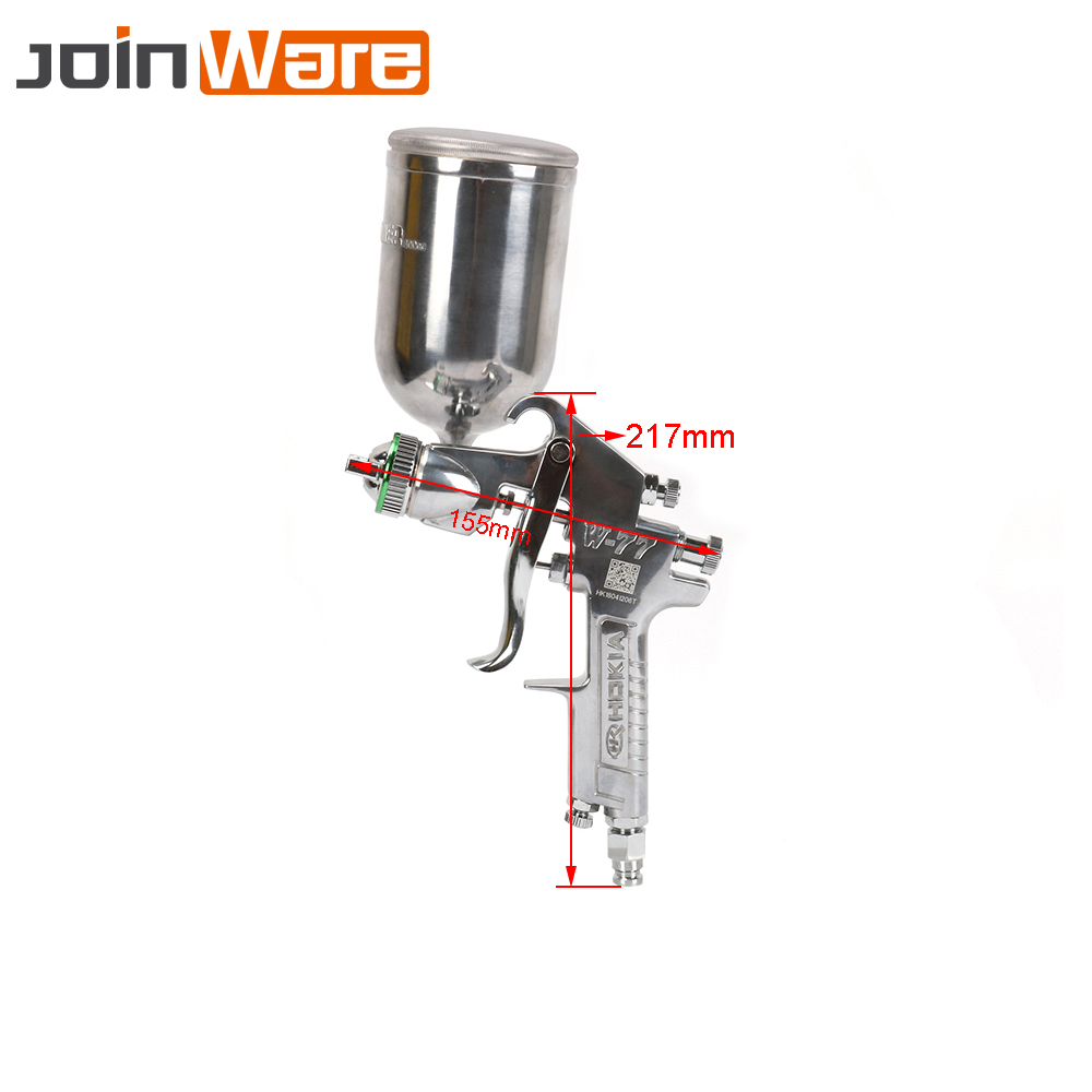 цена на W-77 Spray Gun HVLP Feed Paint Gun Gravity Type 2/2.5/3mm Cup Pot 400ml Furniture Car Coating Painting High Quality