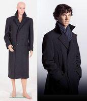 Sherlock Holmes Men Long Cape Winter Warm Wool Coat Cosplay Costume Jacket OverCoat
