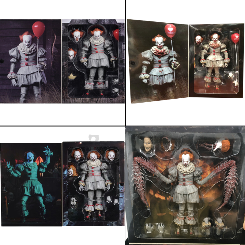 7inch 18cm 4 Types Original NECA Pennywise Joker Action Figure Toy Doll Horror Halloween Gift