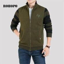 ROHOPO winter male thickness knitted cardigan sweaters,fleece inner keep warmly field deportes zipper leisure under wears male