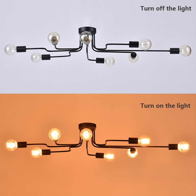 HTB1DPd5XMmTBuNjy1Xbq6yMrVXar Oygroup Vintage Ceiling Lights For Home Lighting Luminaire Multiple Rod Wrought Iron Ceiling Lamp E27 Bulb Living Room#CL06/CL08