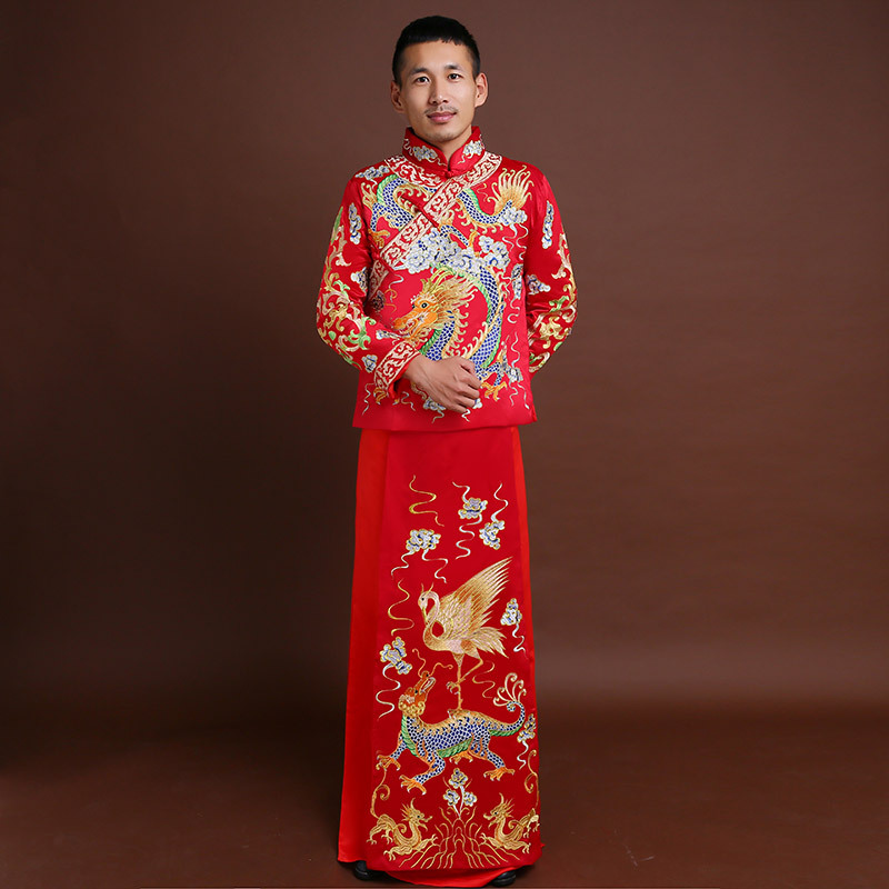Formal Long Robe Tang Suit Men Vintage Hanfu Chinese Style Tang Suit Wedding Clothes Embroidery Robe Mariage Peignoirs Costume