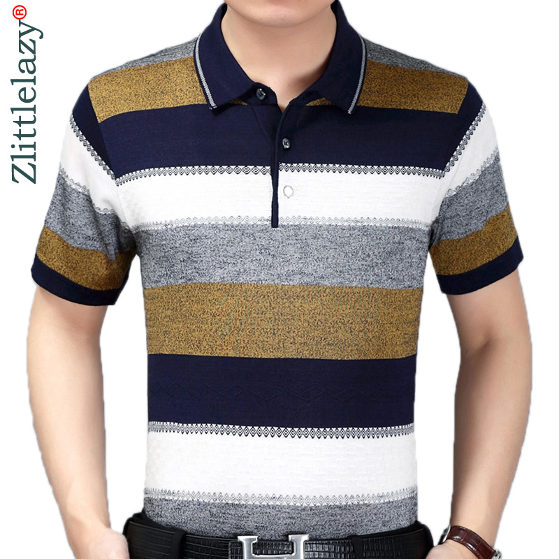 2019 Summer Short Sleeve Knitting Polo Shirt Men Clothes Striped Fashions Polos Tee Shirts Pol Cool Mens Clothing Poloshirt 860