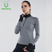 Vansydical 2018 Women Zipper Running Shirts Long Sleeve Yoga Tops Breathable Training Jogging Clothes Stand Collor