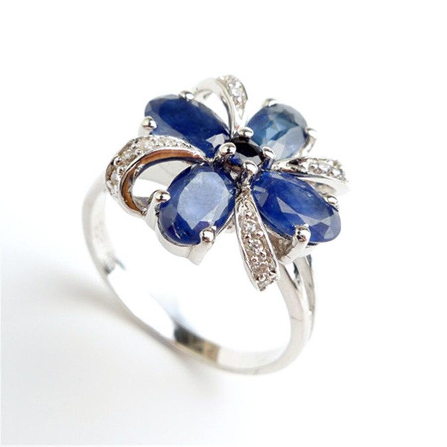 Taille 7 naturel bleu gemmes pierre cristal anneaux de mariage pour les femmes 925 en argent Sterling mode mariage bague de fiançailles