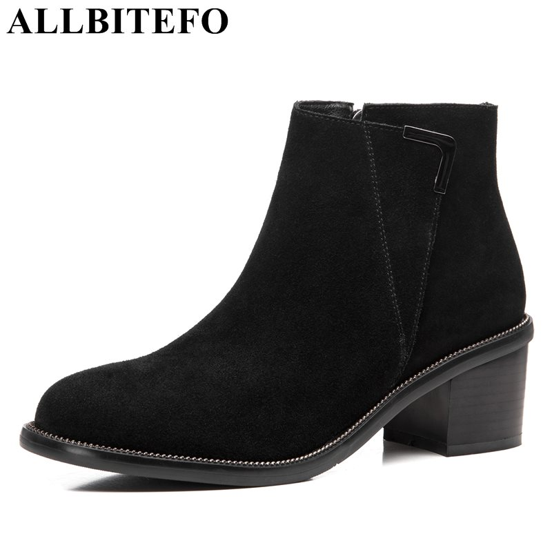 ALLBITEFO 2017 new winter genuine leather thick heel women boots brand metal charm martin boots snow boots casual shoes 2017 new anti slip women winter martin