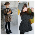 plus velvet winter children sweater cartoon polka dot baby girl dress lattice kids clothes fashion ruched causal girls clothes