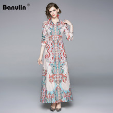 Banulin Fashion Design Runway Autumn Dresses Womens Long Sleeve Elegant Vacation Holiday Floral Printed Vintage Maxi Dress