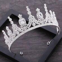 AAA Rhinestone korona dla królewski królowa korony ślubne tiara księżniczka Diadem z pałąkiem na głowę do włosów ślubne biżuteria korowód głowy akcesoria