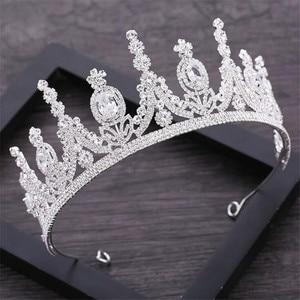 Image 1 - AAA стразы Корона для королевской королевы свадебные тиары короны принцесса диадема повязка на голову Свадебные украшения для волос конкурс головной аксессуар