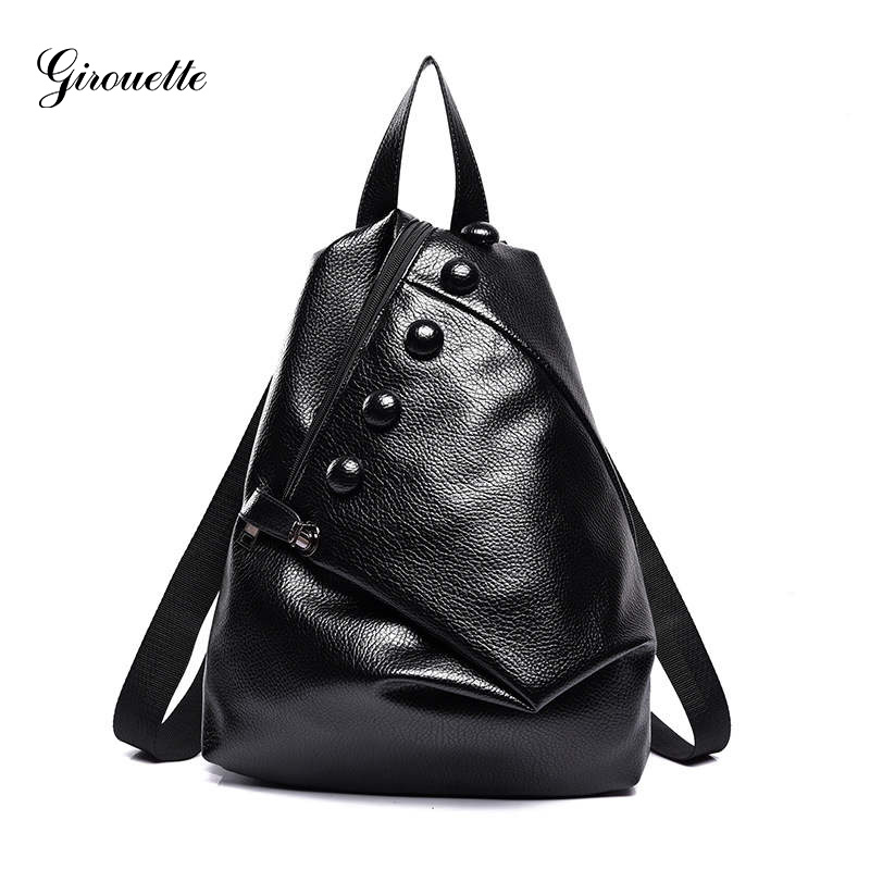 GIROUETTE Leather Feminine Backpack Buttons Women Backpack 2018 Fashion Backpack Female Simple Backpack For Girl