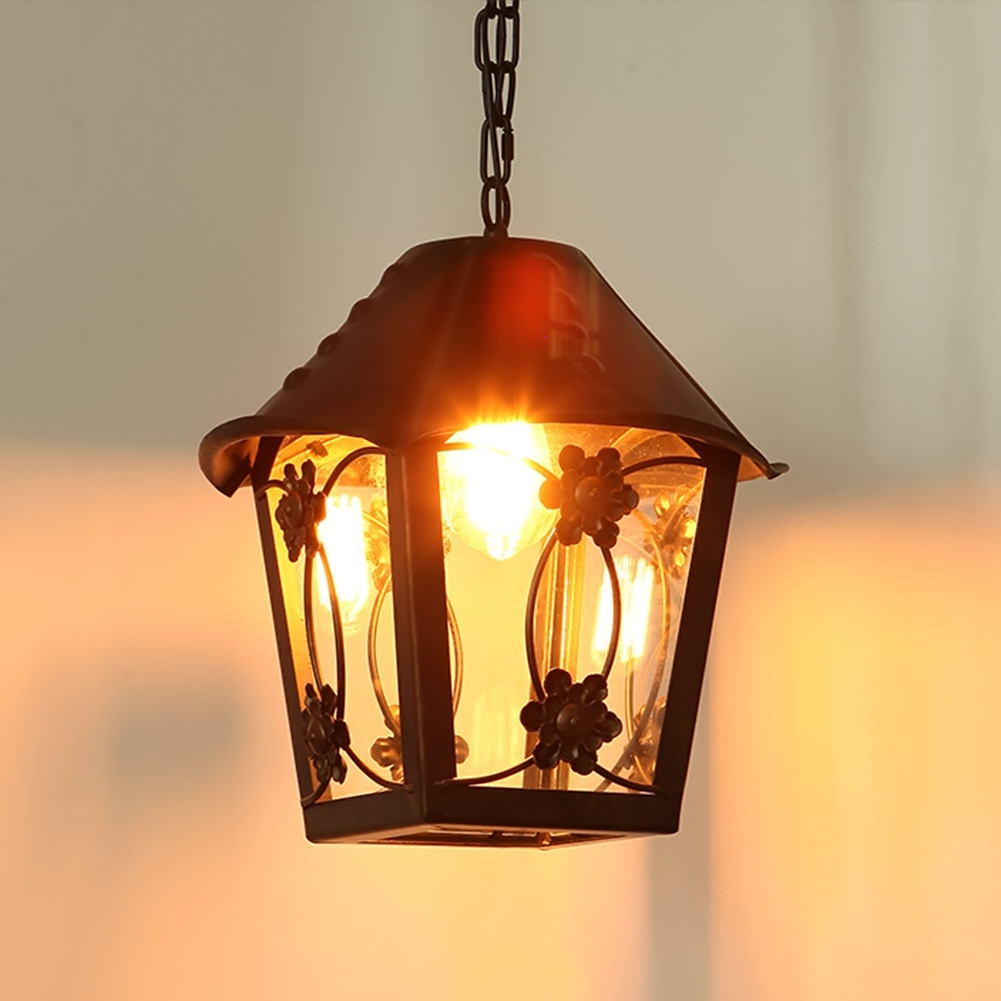 Small House Vintage Chandelier Lamp Warm Yellow Light