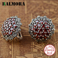 BALMORA 100% Real 925 Sterling Silver Jewelry Red Garnet Retro Elegant Stud Earrings for Women Lover Party Gifts Aretes SLS30192