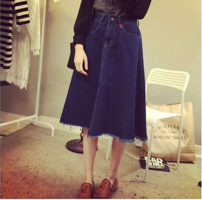 The 2015 spring women's new high waisted A line denim skirt worn ...