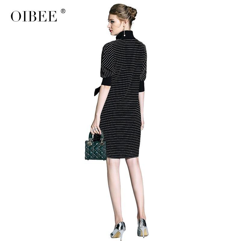 Femmes Taille Femme Black Chauve Mince Soie Pour Oibee2019 De Haute cou Mode Velours Nouvelle Manches souris Robe ZPikXu