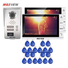 Buy FREE SHIPPING 9″ LCD Monitor Video Door Phone Intercom System 2 Screens Metal RFID Access Unlock Camera for 2 Apartments Family