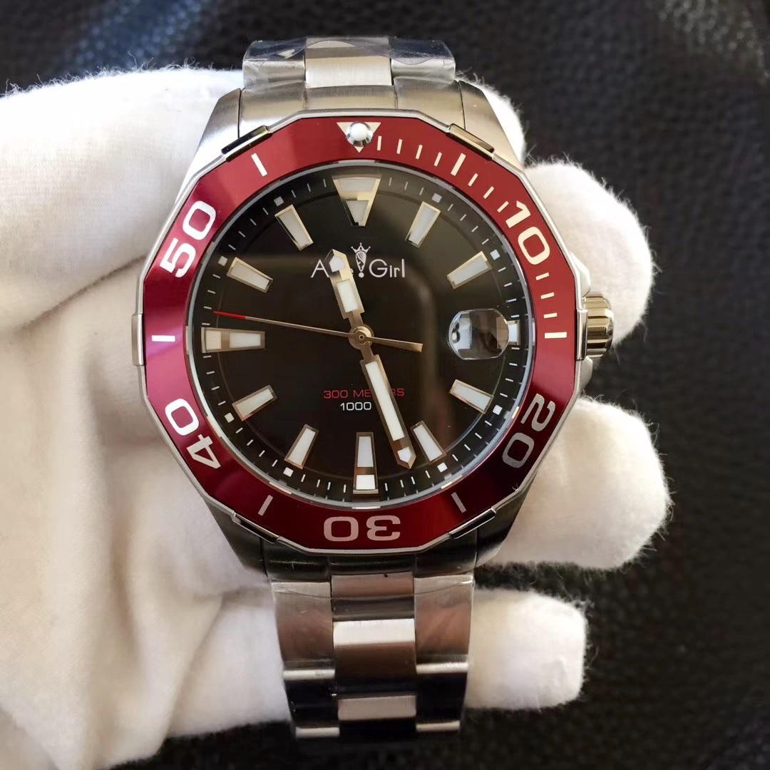 Marque de luxe nouveaux hommes automatique mécanique noir rouge bleu argent en céramique lunette en acier inoxydable saphir étanche montres 46mm