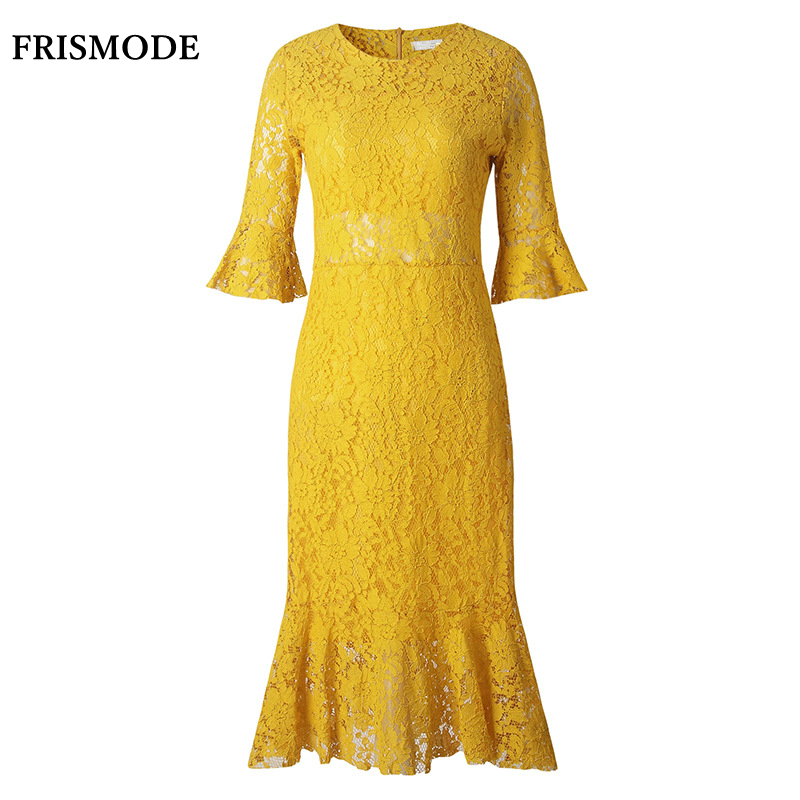 frismode fashion flare sleeve mermaid yellow lace dresses. Black Bedroom Furniture Sets. Home Design Ideas