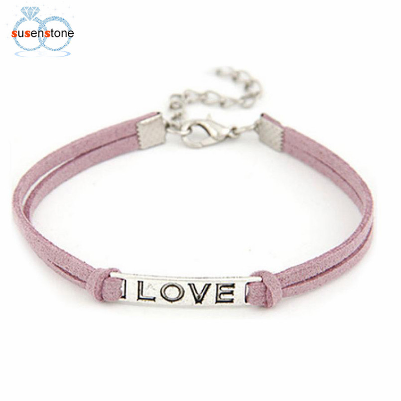 SUSENSTONE Braided Adjustable Leather Popular Bracelet Women Men Love Handmade Alloy Rope Charm Jewelry Weave Bracelet Gift #0 4