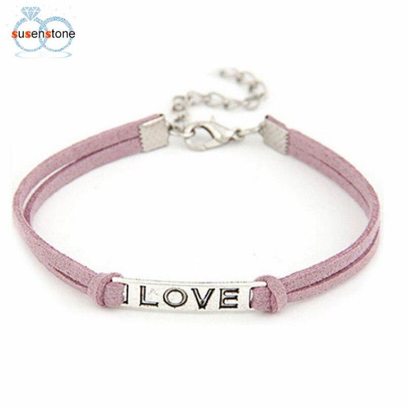 SUSENSTONE Braided Adjustable Leather Popular Bracelet Women Men Love Handmade Alloy Rope Charm Jewelry Weave Bracelet Gift #0 4