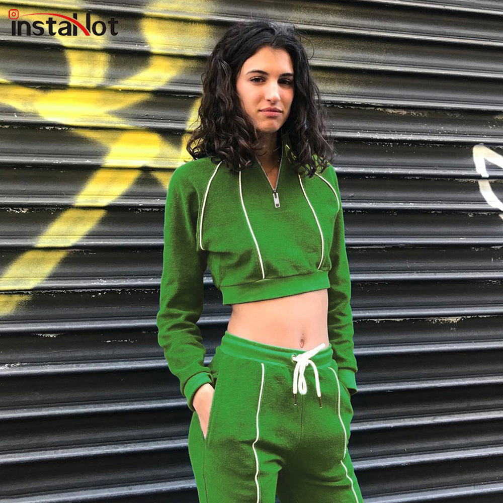 InstaHot Green Zip Front Striped Slim Swearshirt And Drawstring Waist Set Crop Top Autumn Casual Sporting Women Two Piece Sets