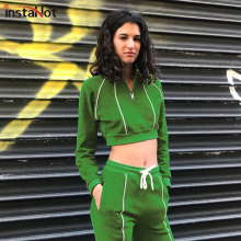 InstaHot Green Zip Front Striped Slim Swearshirt And Drawstring Waist Set Crop Top Autumn Casual Sporting Women Two Piece Sets zip front crop graphic pullover