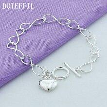 Wholesale Fashion Simple Silver Peach Heart Bracelet 925 Fine Silver Bracelet Women Free Shipping цена 2017