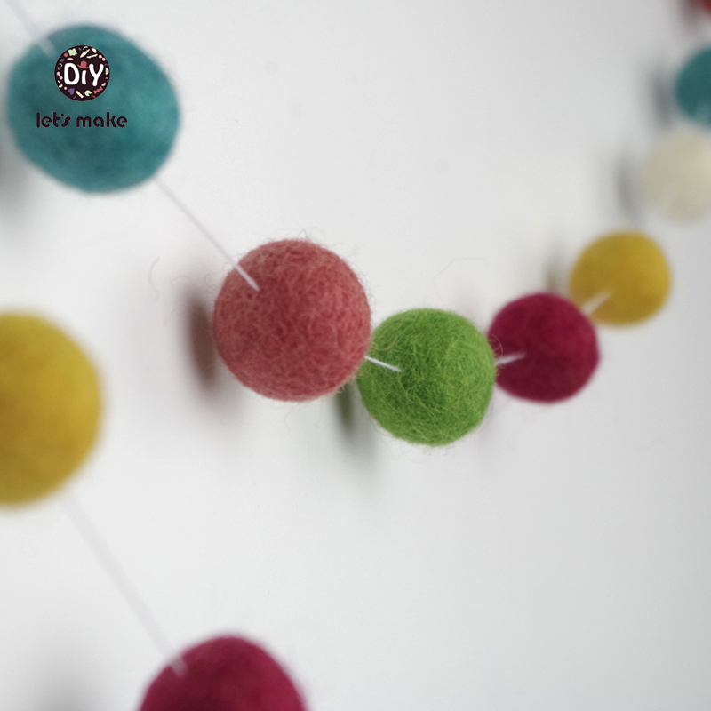 Us 9 54 15 Off Let S Make 40pc Sweet Pink Garland Nursery Decor Felt Ball Pom Bunting Baby Pastel Bedroom Beads In