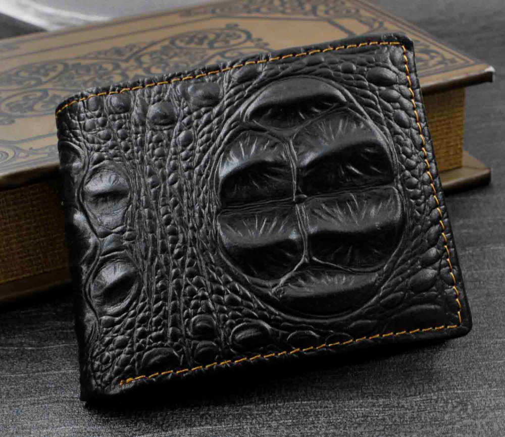 mens crocodile skin style genuine leather wallet purse punk rock in wallets from luggage bags. Black Bedroom Furniture Sets. Home Design Ideas