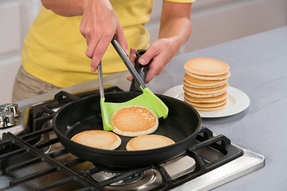 Clever Tongs - 2 in 1 Kitchen Spatula and Tongs Non-Stick Heat Resistant Stainless Steel Frame Silicone and Dishwasher Safe