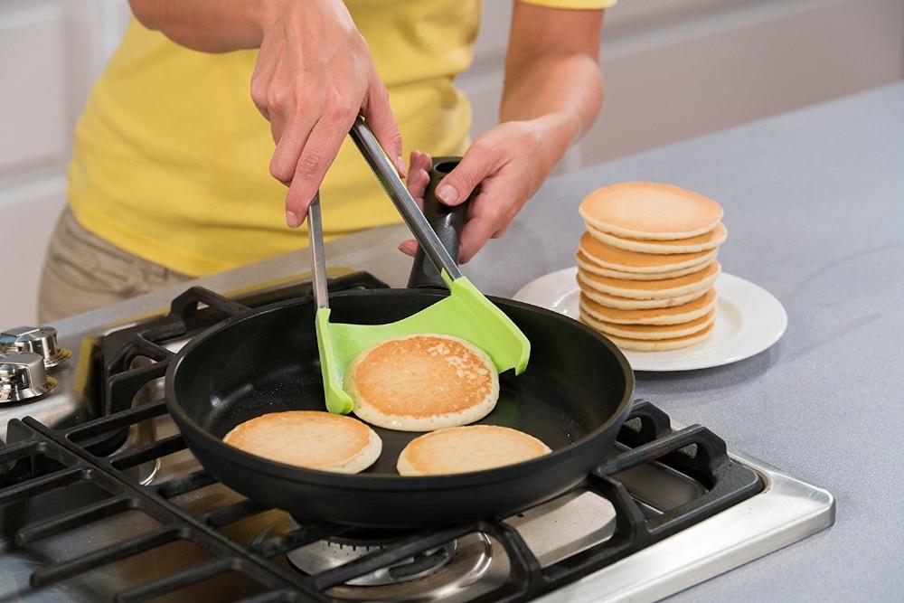 Intelligente Pinze-2 in 1 Cucina Spatola e Pinze Non-Stick Resistente Al Calore In Acciaio Inox Cornice Del Silicone di e lavabile in Lavastoviglie