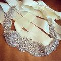 Rhinestone Belt for Wedding Dress Crystal Beaded Bridal Sash with Ivory Ribbon Pearl Crystal Bridal Sash Belt