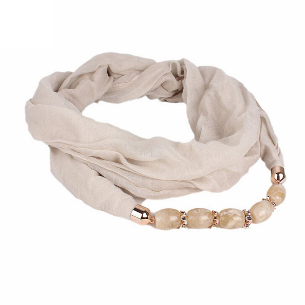 Scarves   For Women Ladies Voile   Wrap   Double Loop   Scarf     Wrap   Pendant Jewelry   Scarf   Collar Simple Solid Color   Scarves   echarpe A9