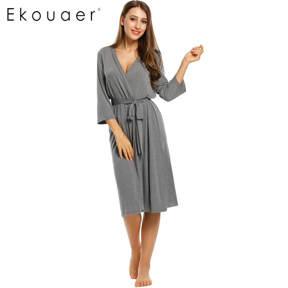 ekouaer long womens robe 3 4 sleeve solid loose v neck With robe 3 4