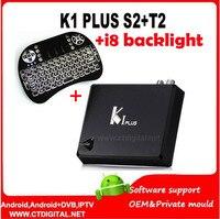 K1 artı s2 t2 Amlogic S905 android dvb s2 4 k uydu alıcısı Quad core 64-bit Destek DVB-T2 DVB-S2 1G/8G k1 artı dvb s2 t2