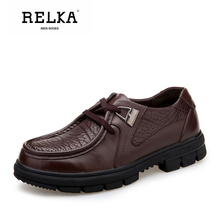 Купить с кэшбэком RELKA Luxury Spring Casual Men Shoes High Quality Genuine Leather Round Toe Soft Heel Shoes Solid Lace-up Fashion Men Shoes N12