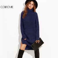 COLROVIE Navy Roll Neck Winter Sweater Dress Women Pocket Front Stepped Hem Dresses Fall 2017 Fashion