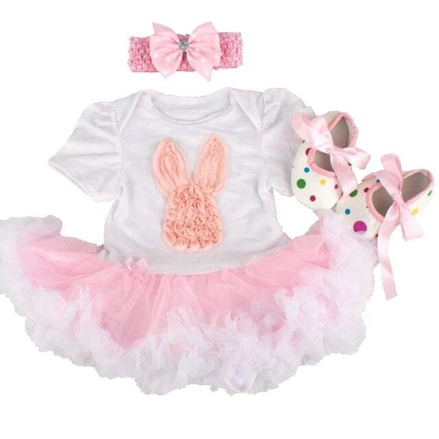 Feliz Pascua Liebre Ropa Bebe Body de Encaje Vestido de Los Zapatos del Pesebre Diadema 3 unids Tutú Recién Nacido Establece Ropa de Bebé Niña Infantil ropa