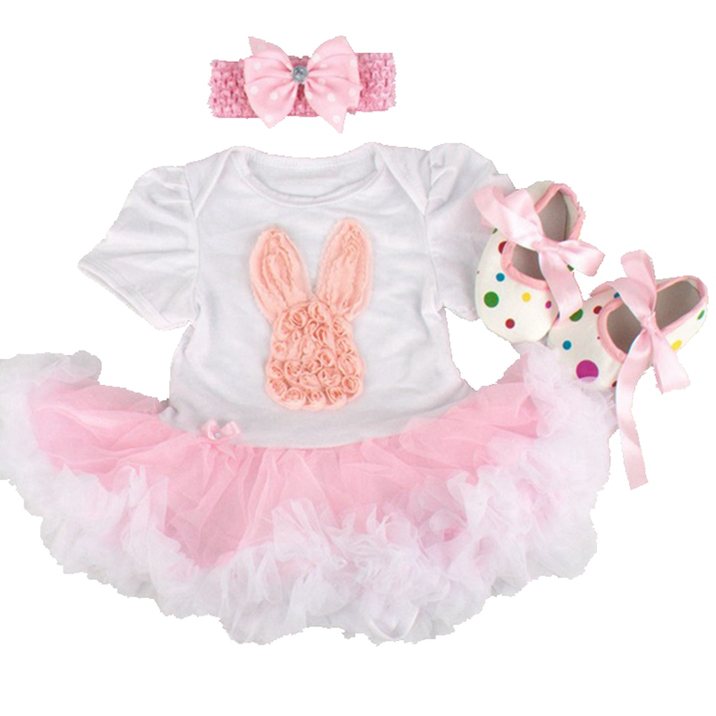 Happy Easter Hare Ropa Bebe Lace Bodysuit Dress Crib Shoes Headband 3pcs Newborn Tutu Sets Baby Girl Clothes Infant Clothing