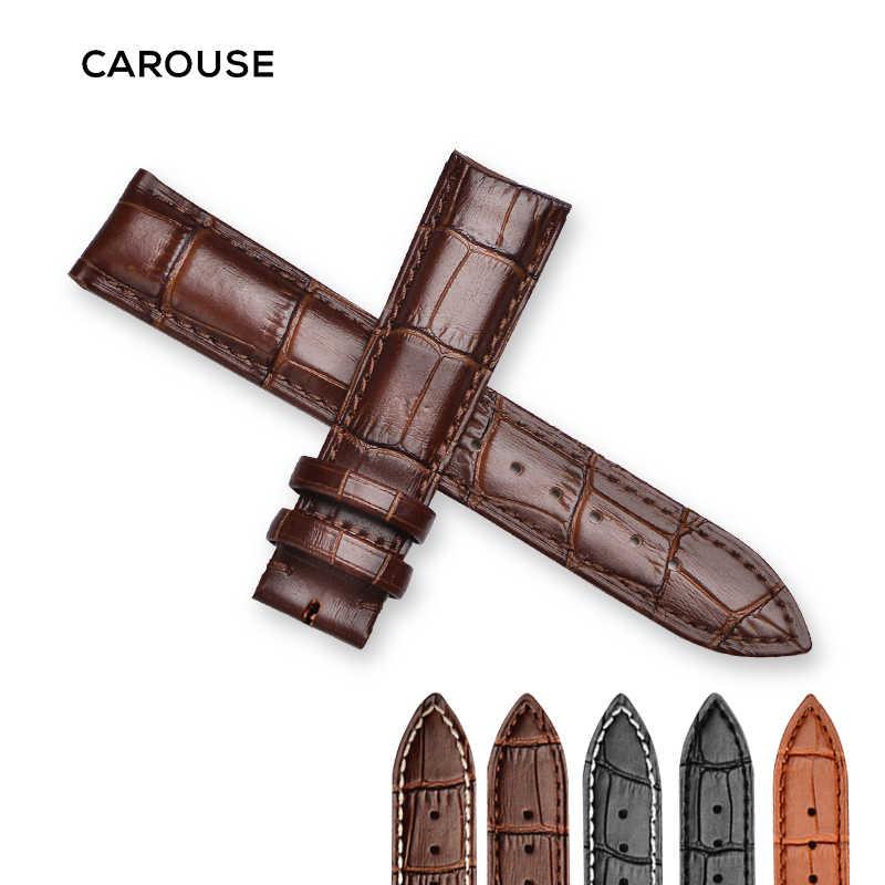 Carouse hakiki deri saat kayışı kayış Watchband için boyutu 12 13 14 15 16 18 19 20 21 22 24 mm siyah saat bileklik bilezik