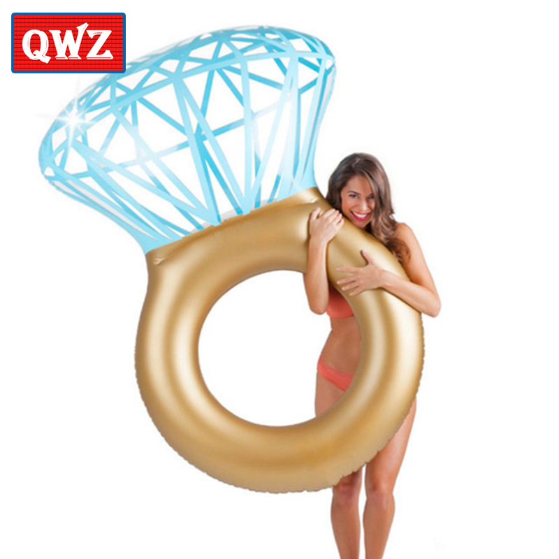 QWZ Hot Sale Giant Diamond Ring Inflatable Swimming Ring Personality Circle Party Toy Tube Raft For Adult Children Gifts ...