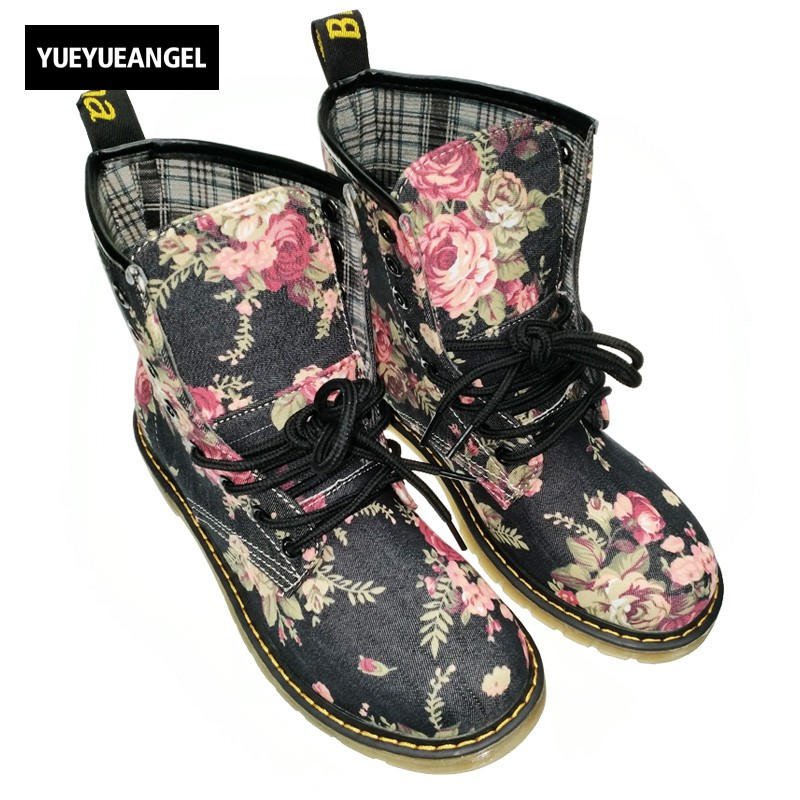 New Spring Top Fashion Womens Retro Flowers Ridding Lace Up High Top Shoes British Female Cloth Ankle Boot Combat Shoes