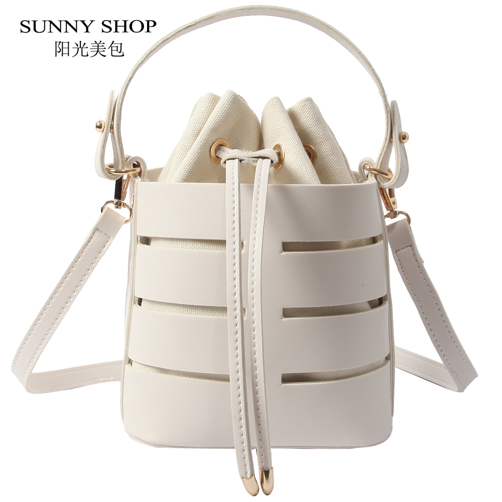 SUNNY SHOP Chic Fashion Bucket Bag For Women 2018 Summer Beach Bag PU Leather Shoulder Bag Set Drawstring Messenger Bag Beige цена