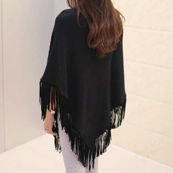 2019 женский осенне-осенний вязаный свитер пончо пальто элегантный пуловер Джемпер Асимметричная кисточка подол плащ Pull Femme