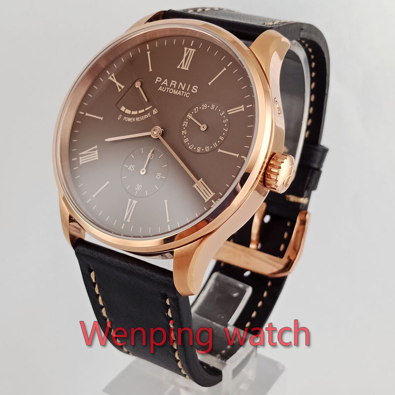 Ambitious W2574 Parnis 41mm Coffee Black Rose Gold Dial Asia St1780 Power Reserve Automatic Movement Leather Mesh Strip Wrist Watches Mechanical Watches Watches