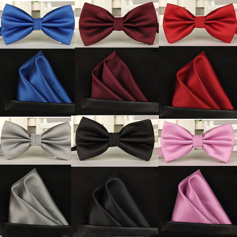 SHENNAIWEI silk Solid Business bowtie men vintage purple black yellow silver wedding bow tie pocket square handkerchief set lote