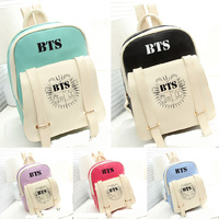Kpop Home BTS Bangtan Boys Same PU Leathern Fashion Schoolbag Backpack Student Satchel Bag