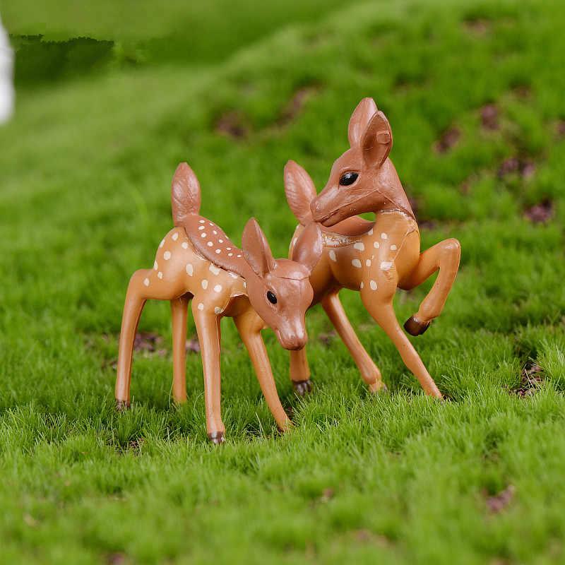 Artificial Mini Sika Deer Giraffe Fairy Garden Miniatures Gnomes Moss Terrariums Resin Crafts Figurines Home Decoration